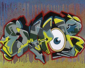 Rubin, Eye, Marker und Spray auf Leindwandkarton