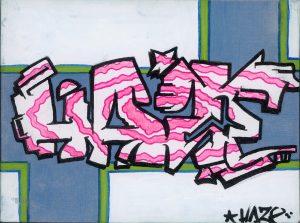 HAZE, Tag (pink), Marker auf Leinwandkarton