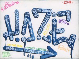 HAZE, Tag (blau), Marker auf Leinwandkarton