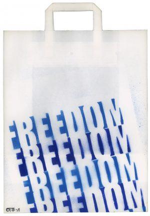 Sebastian Nowak, Freedom, Spray auf Papiertasche