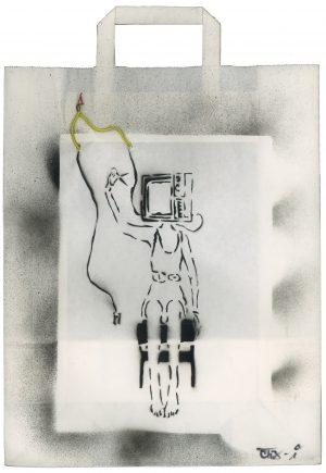 Sebastian Nowak, TV, Spray auf Papiertasche