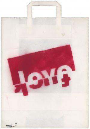 Sebastian Nowak, Love/Fuck, Spray auf Papiertasche