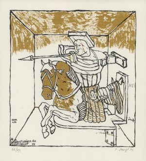 Peter Sengl, Armbrustschütze als Schweinehirt, Lithographie