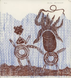 Peter Pongratz, Zwei seltsame Figuren, Lithographie