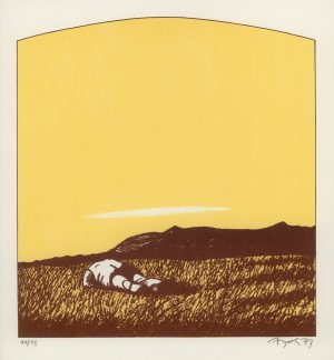 Eduard Angeli, In der Wüste, Lithographie
