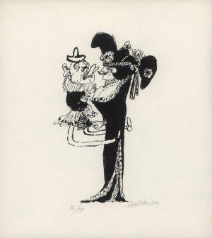 Kurt Moldovan, Dame mit Zwerg, Lithographie