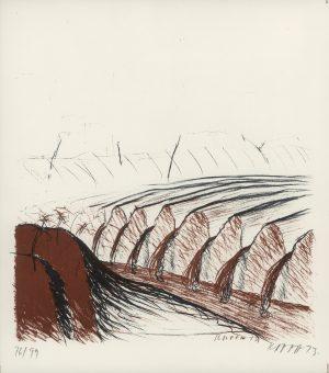 Kurt Kappa-Kocherscheidt, Landschaft mit Wasserfall, Lithographie