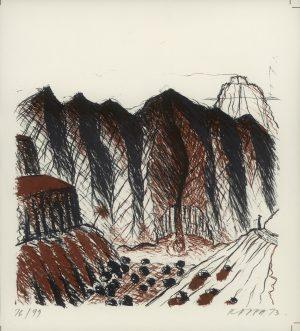 Kurt Kappa-Kocherscheidt, Landschaft mit Diamantenfeld, Lithographie