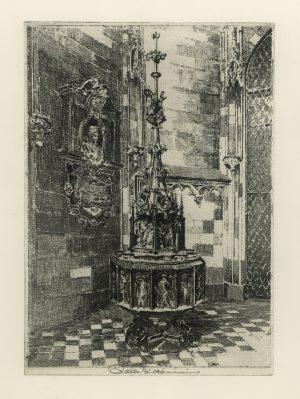 Raoul Kasimir, Stephansdom Wien, gotisches Taufbecken, Radierung