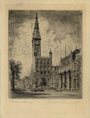 Bruno Reinhold, Rathaus Danzig, Radierung