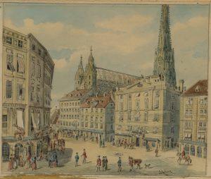 Josef Anton Storr, Wien Stephansplatz, Aquarell