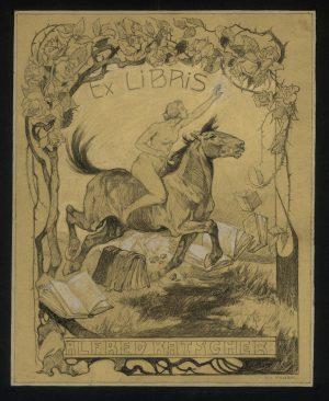 Franz von Roubal, Entwurf für Exlibris Alfred Katscher, Zeichnung