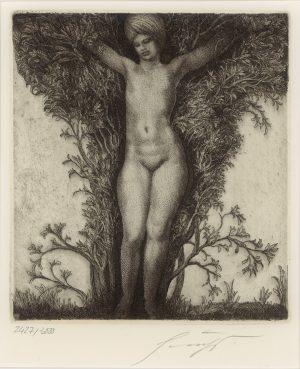 Ernst Fuchs, Erscheinung im Busch, Radierung