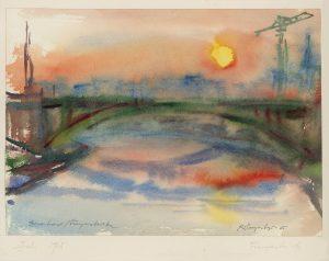 Kurt Panzenberger, Wien Donaukanal Franzensbrücke, Aquarell