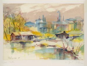 Kurt Panzenberger, bei Tulln/Donau, Aquarell