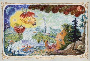 Walter Behrens, Träumerei, 6-Farbenlithographie