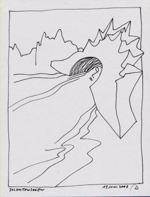Wassil Dimow, Dolomitensagen, Tuschezeichnung