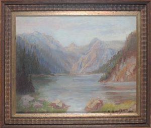 Karl Albin Grimme, Hallstätter See?, Öl auf Leinwand signiert gerahmt