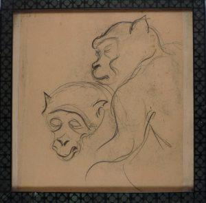 Felix Malecki, Affenskizze, Graphit gerahmt Rückseiten mit weiteren Affenmotiven