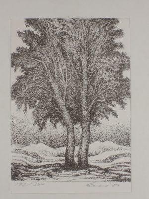 Helmut Kies, Zwei Bäume, Litho 142/350 signiert