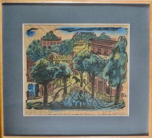 Axl Leskoschek, Liebespaar/Brasilien, Kolorierter Linolschnitt, gerahmtMonogrammiert auf Platte AL 42