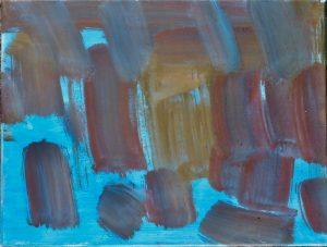 Jungfrau Johanna Artmann, Auf blau, Acryl auf Leinwand, verso signiert