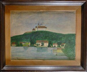 J. Schönb, An der Donau 2,  Öl auf Leinwand