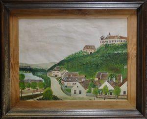 J. Schönb, An der Donau 1, Öl auf Leinwand