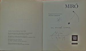 """Juan Miro, Eigenhändige Zeichnung mit Widmung """"Un amical souvenir"""", Signatur und Datierung """"Miro 3.XI.69"""""""