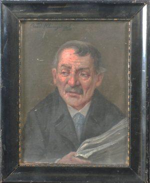Rudolf Klingsbögl, Alter Mann mit Zeitung, Öl auf Karton gerahmt signiert