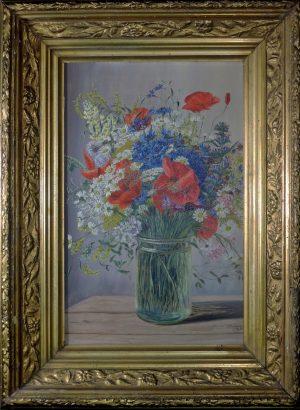 C.S., Glasvase mit Wiesenblumen, Öl auf Presskarton