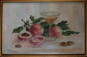 Walter Sedlmayer, Stilleben mit Cocktailglas, Blättern, Pfirsichen und Nüssen, Aquarell? auf Leinen