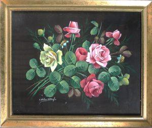 F. Krehan-Wettengl, Rosenstrauß, Öl auf Seide