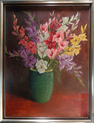 Rudolf Gellner, Grüne Vase mit buntem Blumenstrauß, Öl auf Leinwand