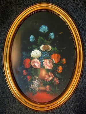 N.N., Vase mit buntem Blumenstrauß I, Öldruck? mit ovalem Rahmen