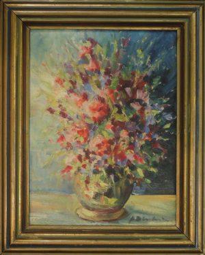 N.N., Vase mit Blumenstrauß impressionistisch, Öl auf Pappe, signiert