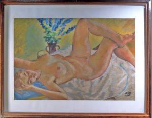 Franz Xaver Wolf, Liegender weiblicher Akt, Aquarell signiert WOLF 1940