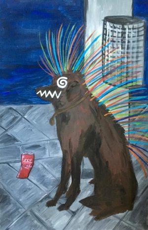 Dimitri Holzinger, Punk Dog, Acryl auf Leinwand, sig.