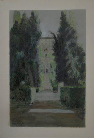 Villa d´Este, N.N., Zeichnung, Aquarell