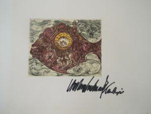 Fisch und Uhr 5 vor2, Michael Coudenhove-Kalergi, Radierung signiert Probedruck