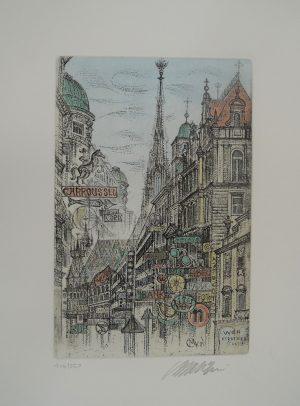 Wien Kärntner Straße, Michael Coudenhove-Kalergi, Radierung 146/350 signiert