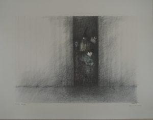 Hinterm Vorhang, Paul Flora, Lithographie signiert