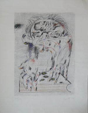 Der Editor, Karl Anton Fleck, Lithographie119/150 handkoloriert signiert