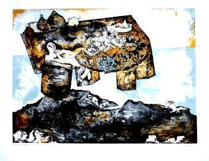 Nature morte sur table volante, Matheos Florakis, Farblitho 13/60 signiert