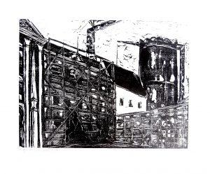Fabrik, H. Vischer, Holzschnitt signiert datiert Probedruck
