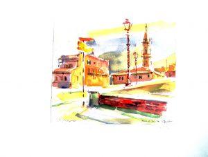 Kurt Panzenberger, Florenz Ponte S. Trinita Campanile S. Spirito, Aquarell signiert datiert Juni 1966