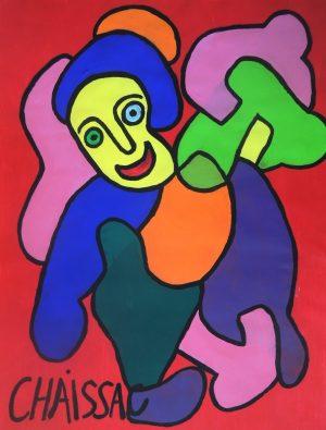 Menschliche Figur, Gaston Chaissac, Malfarbe auf Papier signiert