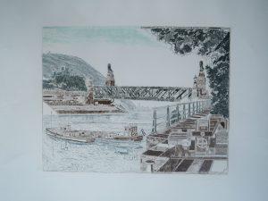 Donau Wien-Nussdorf, Hermann Härtel, Druck von Maly und Lauterbach 1171/1200 signiert