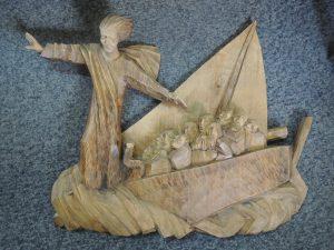 Unbekannt, Christus mit den 12 Aposteln am See Genezareth, Schnitzwerk Holz handgeschnitzt aus Oberammergau