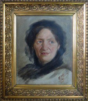 M. P. Mihailovic, Frauenportrait, Öl auf Leinwand gerahmt signiert datiert 10.7.1917